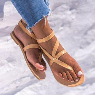 Women's Buckle Flip-Flops Flat Heel Sandals_1