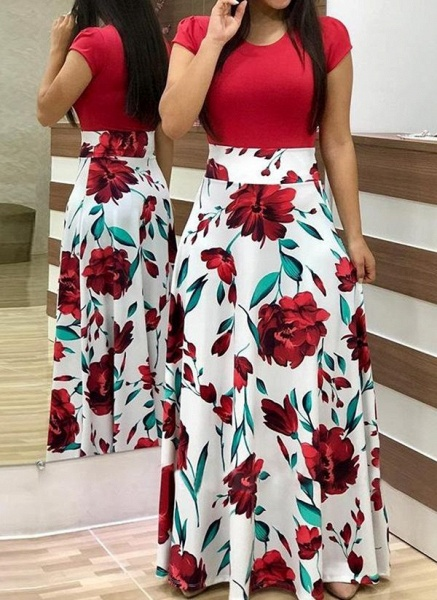 Casual Floral Wrap Round Neckline X-line Dress_3