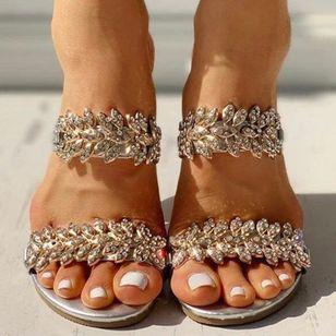Women's Sequin Flower Slingbacks Flat Heel Sandals_4