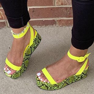 Women's Animal Print Slingbacks Low Heel Sandals Platforms_2