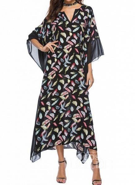 Blue Plus Size Tunic Color Block V-Neckline Casual Maxi Plus Dress_10