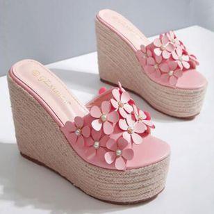 Women's Flower Peep Toe Wedge Heel Sandals_4