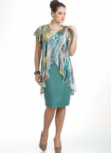 Green Plus Size Color Block Round Neckline Elegant Knee-Length X-line Dress Plus Dress_1