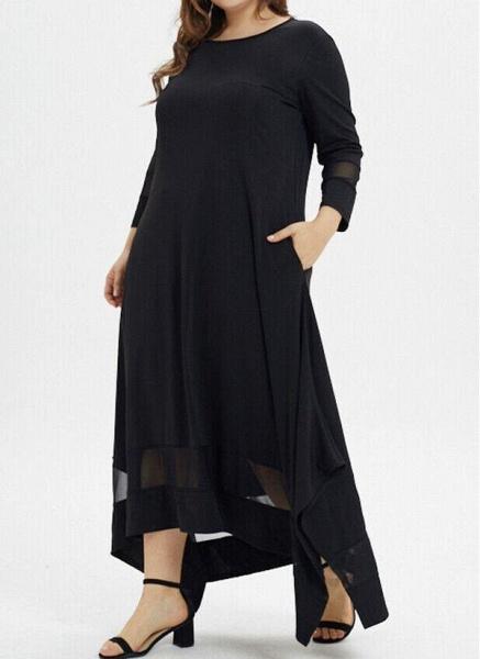 Black Plus Size Tunic Solid Round Neckline Casual Pockets Plus Dress_1