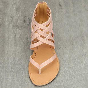 Women's Zipper Flip-Flops Flat Heel Sandals_4