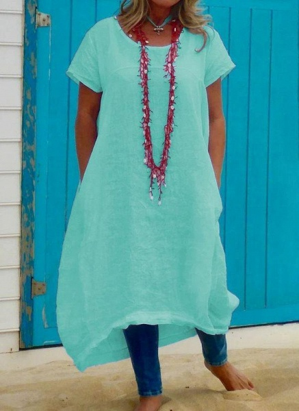 Green Plus Size Tunic Solid Round Neckline Casual Pockets Plus Dress_1