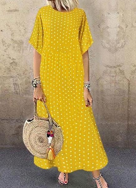 Green Plus Size Polka Dot Round Neckline Casual Maxi Shift Dress Plus Dress_4