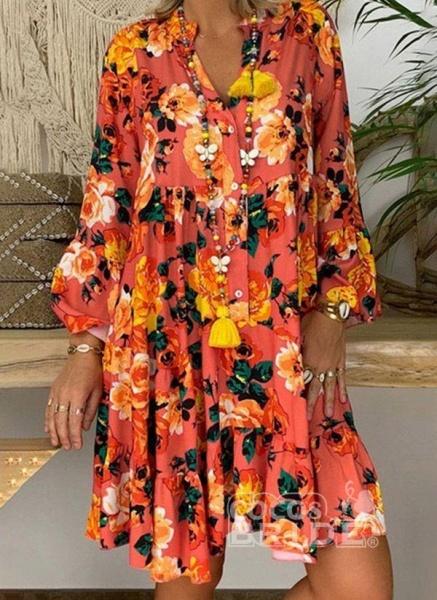 Rose Plus Size Tunic Floral V-Neckline Casual Buttons Plus Dress_3