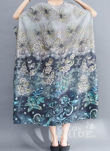 Gray Plus Size Tunic Floral Round Neckline Casual Pockets Plus Dress_3