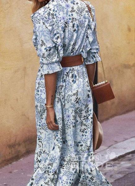 Apricot Boho Floral V-Neckline Maxi X-line Dress_5
