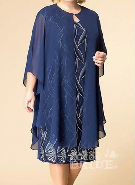 Blue Plus Size Tunic Floral Round Neckline Elegant Wrap Plus Dress_2