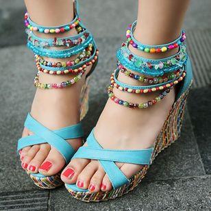 Women's Pearl Heels Leatherette Wedge Heel Sandals_2