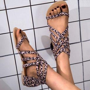 Women's Leopard Zipper Toe Ring Flat Heel Sandals_4