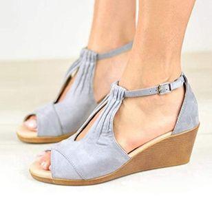 Women's Buckle Nubuck Wedge Heel Sandals_3