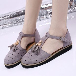 Women's Buckle Tassel Flats Flat Heel Sandals_1