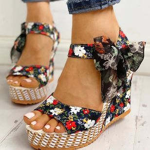 Women's Bowknot Lace-up Flower Slingbacks Cloth Wedge Heel Sandals_4