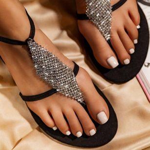 Women's Crystal Flip-Flops Flat Heel Sandals_1
