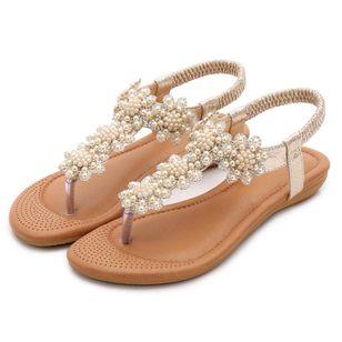 Women's Beading Slingbacks Cloth Flat Heel Sandals_4