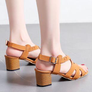 Women's Buckle Slingbacks Chunky Heel Sandals_2