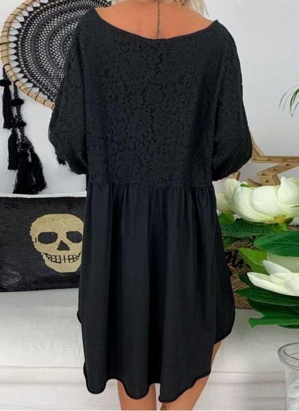 Black Plus Size Solid V-Neckline Casual Above Knee A-line Dress Plus Dress_5