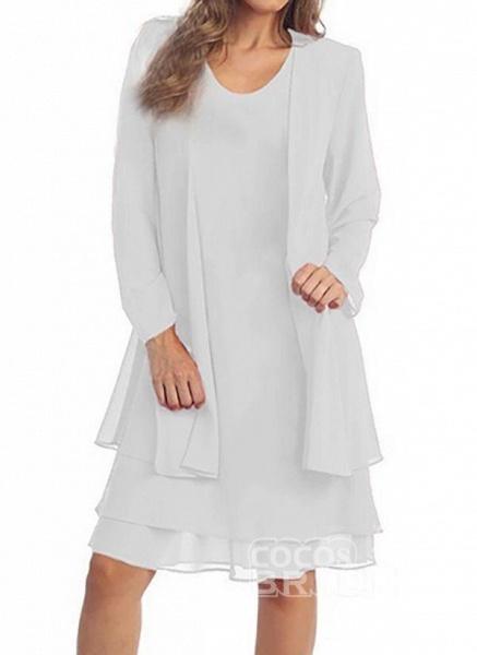 Purple Plus Size Tunic Solid Round Neckline Elegant Wrap Plus Dress_4