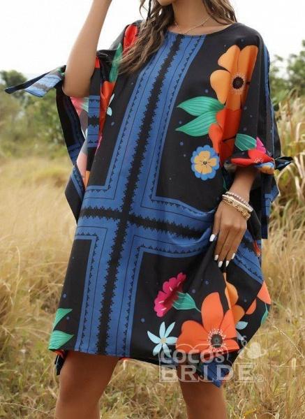 Multicolor Plus Size Floral Round Neckline Casual Bow Above Knee Plus Dress_3