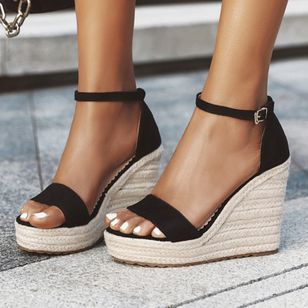 Women's Ankle Strap Modern Nubuck Wedge Heel Sandals_4
