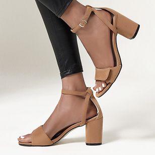 Women's Buckle Modern Nubuck Chunky Heel Sandals_3