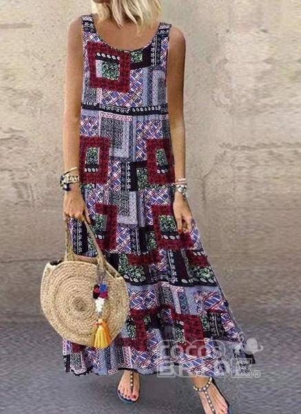 Khaki Plus Size Tunic Color Block Round Neckline Casual Maxi Plus Dress_2