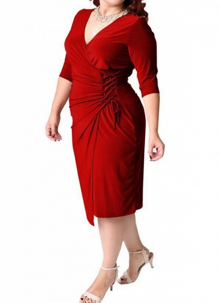 Red Plus Size Solid V-Neckline Casual Sashes Midi Plus Dress_1