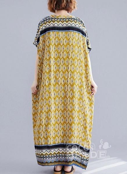 Yellow Plus Size Block V-Neckline Casual Maxi Plus Dress_4