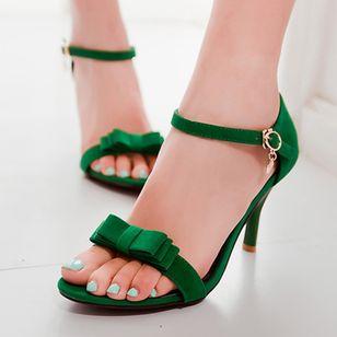 Women's Buckle Heels Nubuck Spool Heel Sandals_2