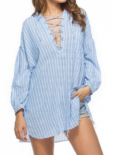 Blue Plus Size Tunic Stripe V-Neckline Casual Above Knee Plus Dress_1