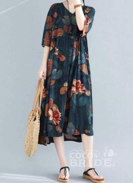 Dark Green Plus Size Tunic Floral V-Neckline Casual Midi Plus Dress_2