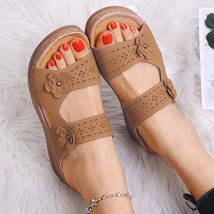 Women's Flower Slingbacks Flat Heel Sandals_3