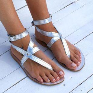 Women's Buckle Flip-Flops Flat Heel Sandals_6