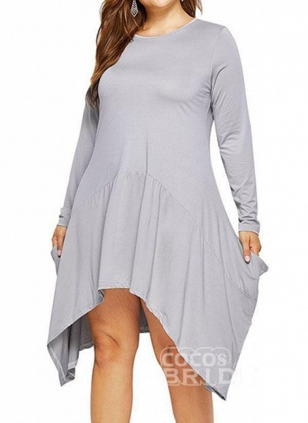 Military Green Plus Size Skater Solid Round Neckline Casual Above Knee Plus Dress_12