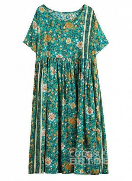 Plus Size Tunic Floral Round Neckline Casual Midi Plus Dress_4