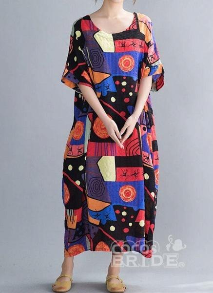 Blue Plus Size Tunic Color Block Round Neckline Casual Midi Plus Dress_5