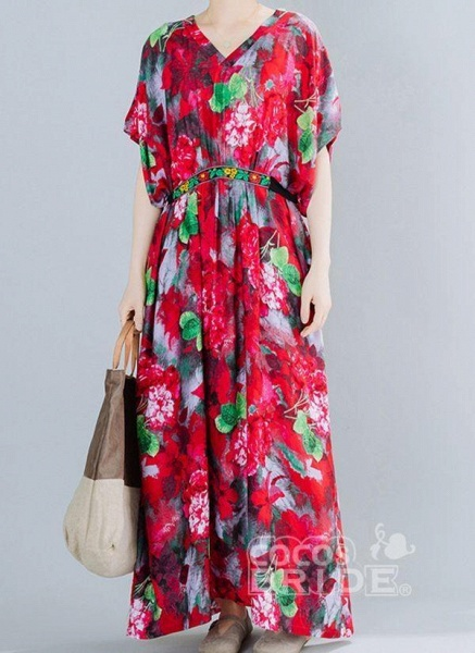Red Plus Size Floral V-Neckline Boho Sashes Maxi Plus Dress_6
