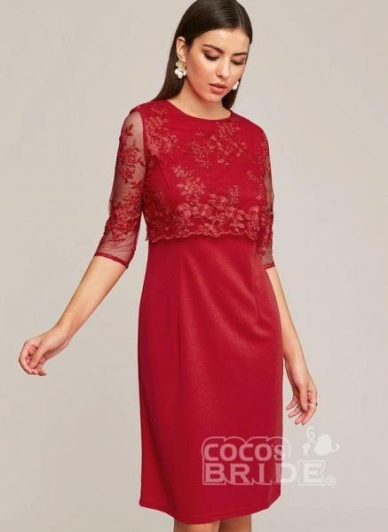 Blue Plus Size Solid Round Neckline Elegant Midi X-line Dress Plus Dress_7