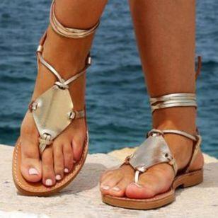 Women's Lace-up Flip-Flops Flat Heel Sandals_3