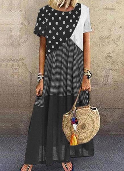 Black Plus Size Tunic Color Block Round Neckline Casual Maxi Plus Dress_1