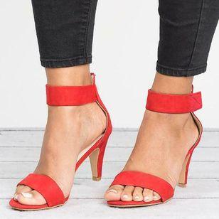 Women's Velcro Ankle Strap Heels Cloth Stiletto Heel Sandals_7