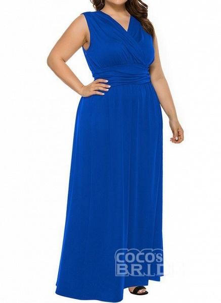 Blue Plus Size Solid V-Neckline Casual Ruffles Maxi Plus Dress_2