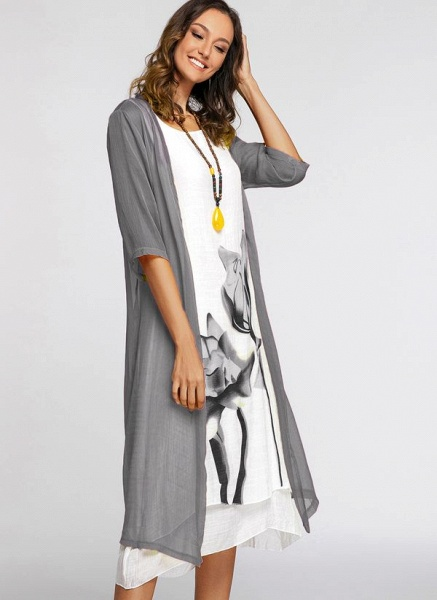 Floral Wrap Round Neckline Midi X-line Dress_14