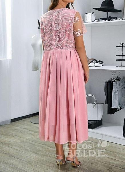 Pink Plus Size Floral V-Neckline Casual Ruffles Maxi Plus Dress_3