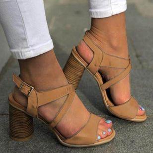 Women's Buckle Slingbacks Chunky Heel Sandals_3