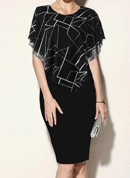 Black Plus Size Color Block Round Neckline Casual Bodycon Dress Short Sleeve Plus Dress_3