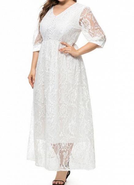 White Plus Size Floral V-Neckline Casual Maxi X-line Dress Plus Dress_1